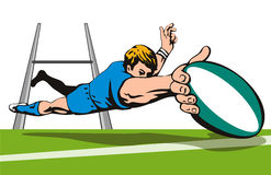 Rugby player diving to score b stock illustration