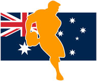 Rugby player flag of australia. Illustration of a rugby player running passing ball with flag of flag of australia Stock Image