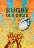 Rugby Player Hands Catching Ball Royalty Free Stock Image