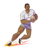 Rugby player hold rugby and running. Rugby player hold rugby and running, Vector cartoon illustrtion Stock Images