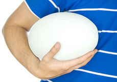 Rugby player holding ball Royalty Free Stock Photo