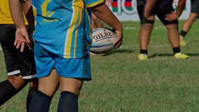 Rugby. The player holding ball. royalty free stock images