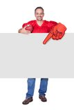 Rugby Player Holding Rugby Ball And Placard Royalty Free Stock Photo