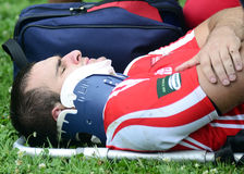 Rugby player injury Royalty Free Stock Images
