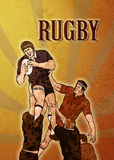 Rugby player jumping ball lineout Royalty Free Stock Photo