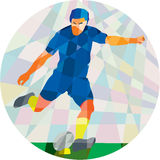 Rugby Player Kicking Ball Circle Low Polygon Royalty Free Stock Photos