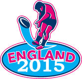 Rugby Player Kicking Ball England 2015 Retro Stock Photos