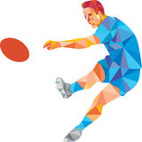 Rugby Player Kicking Ball Low Polygon Stock Images