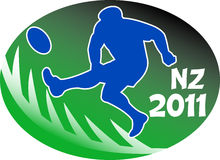 Rugby player kicking NZ 2011. Illustration of a rugby player kicking the ball side view set inside oval or ball with fern silhouette and words NZ 2011 Royalty Free Stock Images