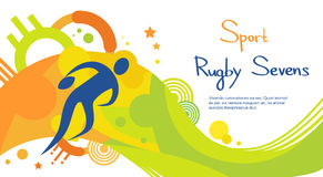 Rugby Player Match Athlete Sport Competition Colorful Banner Royalty Free Stock Image