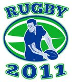 Rugby player passing ball 2011 Stock Images