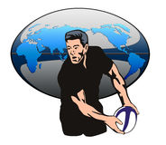 Rugby player passing ball Stock Photo