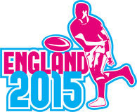 Rugby Player Passing Ball England 2015 Retro Royalty Free Stock Image