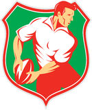 Rugby Player Passing Ball Shield Retro Stock Photography
