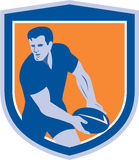 Rugby Player Passing Ball Shield Retro Royalty Free Stock Image