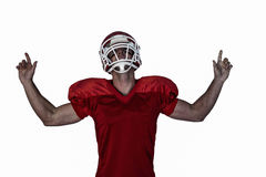 Rugby player pointing up and cheering. Over white background Royalty Free Stock Photo