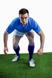 Rugby player ready to tackle the opponent Stock Photos