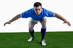 Rugby player ready to tackle the opponent Stock Images