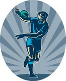 Rugby player run ball passing Stock Photography