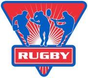 Rugby player run pass kicking Royalty Free Stock Image