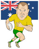 Rugby player running Australia flag Royalty Free Stock Image