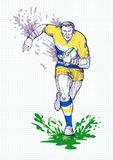 Rugby player running with ball Royalty Free Stock Image