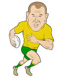 Rugby player running with ball. Cartoon illustration of a Rugby player running with ball  isolated on white background Royalty Free Stock Image