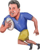 Rugby Player Running Ball Caricature. Caricature illustration of a rugby player with ball running set  on isolated white background viewed from front Stock Photo