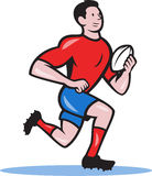 Rugby Player Running Ball Cartoon. Illustration of a rugby player running with the ball viewed from side done in cartoon style Royalty Free Stock Images