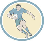 Rugby Player Running Ball Circle Cartoon Stock Photo