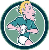 Rugby Player Running Ball Circle Cartoon Royalty Free Stock Image