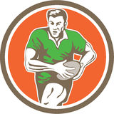 Rugby Player Running Ball Circle Retro Stock Image