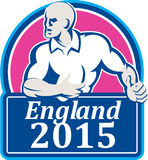 Rugby Player Running Ball England 2015 Retro Royalty Free Stock Photography