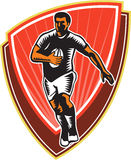 Rugby Player Running Ball Front Woodcut Stock Images