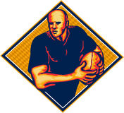 Rugby Player Running Ball Retro Stock Image