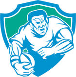 Rugby Player Running Ball Shield Linocut Stock Photos