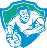 Rugby Player Running Ball Shield Linocut Stock Photos