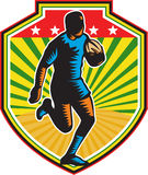 Rugby Player Running Ball Shield Retro Royalty Free Stock Photos
