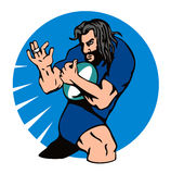 Rugby player running fend. Vector art of a Rugby player running fend royalty free illustration