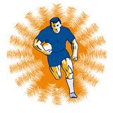 Rugby player running orange Royalty Free Stock Photography