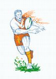 Rugby Player Running Passing Ball Royalty Free Stock Photos
