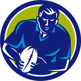 Rugby Player Running Passing Ball Circle Retro Stock Photos