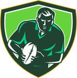 Rugby Player Running Passing Ball Crest Retro Royalty Free Stock Photos