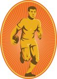 Rugby Player Running Passing Ball Retro Royalty Free Stock Photo