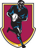 Rugby Player Running Passing Ball Retro Royalty Free Stock Image