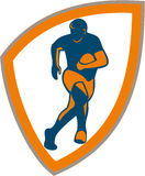 Rugby Player Running Shield Silhouette Stock Photos
