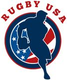 Rugby player running usa Stock Photo