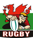 Rugby player score try wales flag Stock Photos