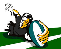 Rugby player scoring a try Royalty Free Stock Photo