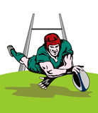 Rugby player scoring a try. Illustration on the international sport of rugby Royalty Free Stock Image